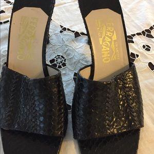 Beautiful Black Ferragamo snake like women's shoes